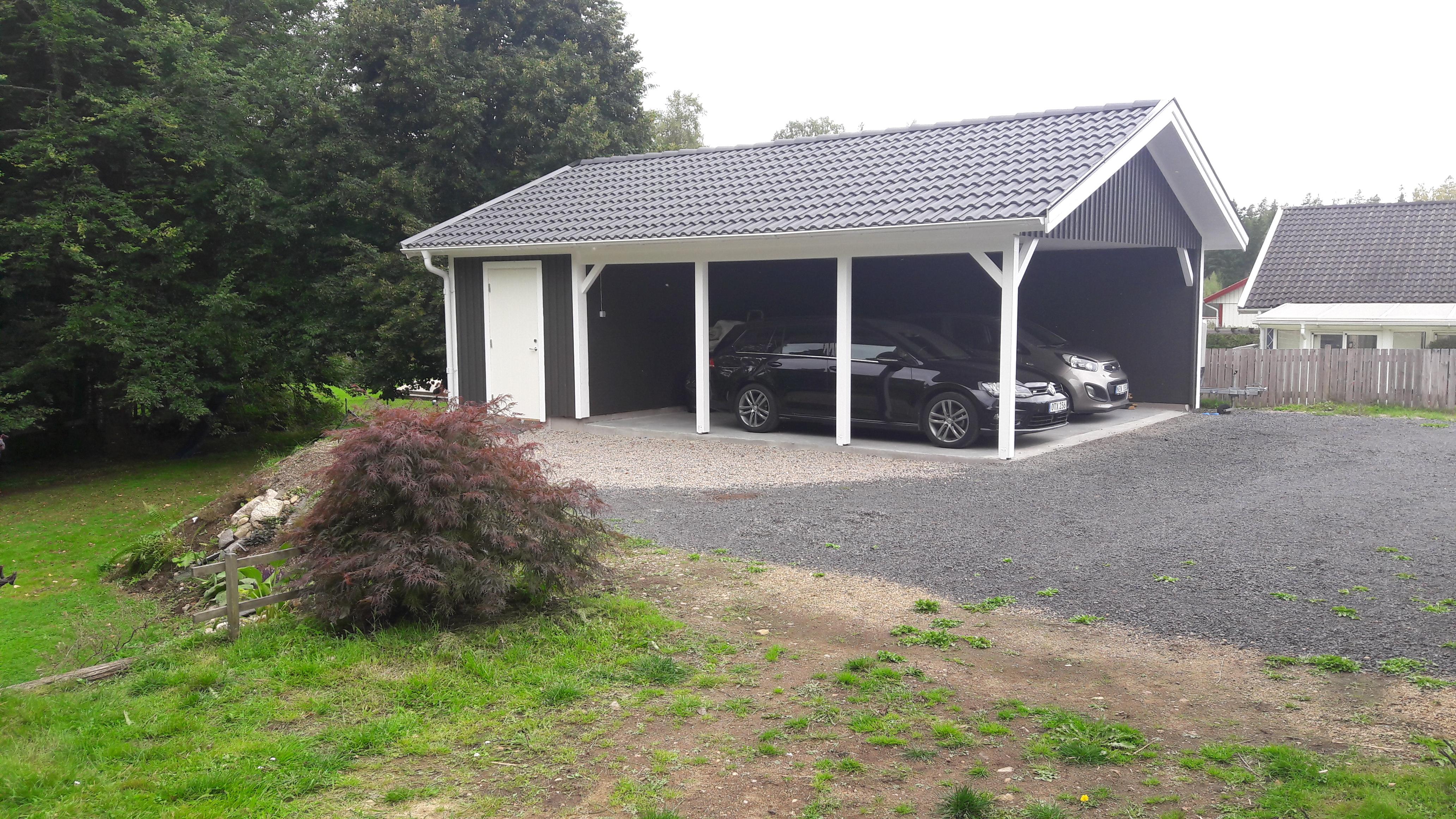 Dubbelcarport Med Förråd Mellby Garage
