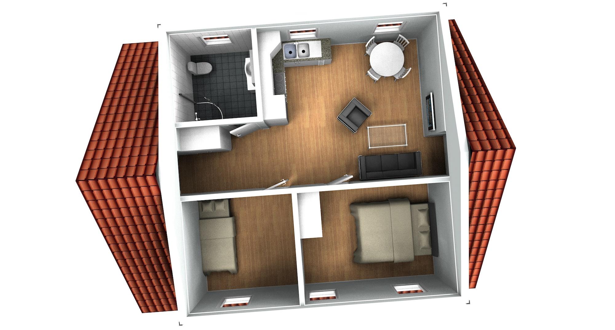 Garage med övervåning / lägenhet 2-plan, planskiss