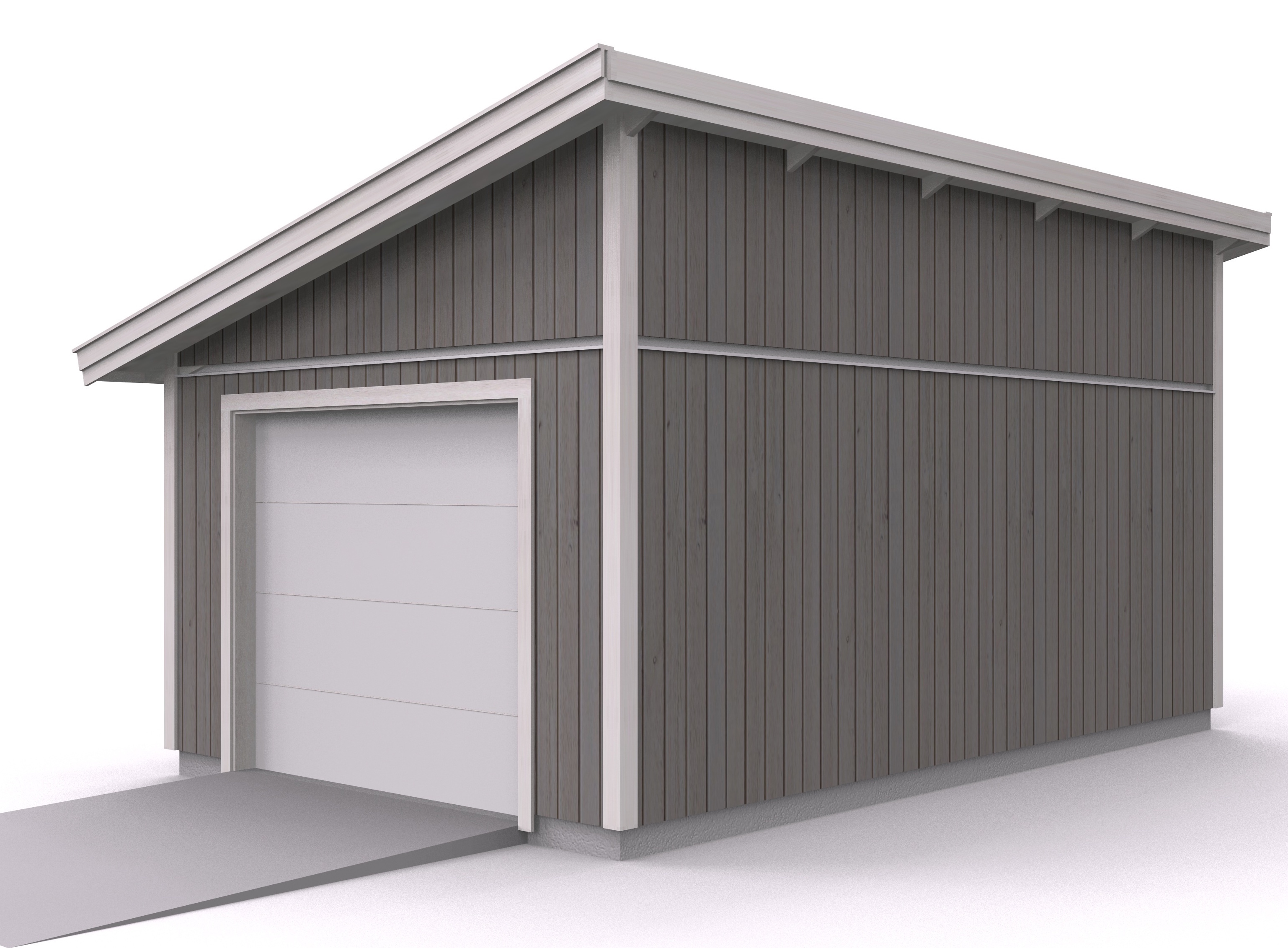 Våra garage - Enkelgarage med pulpettak