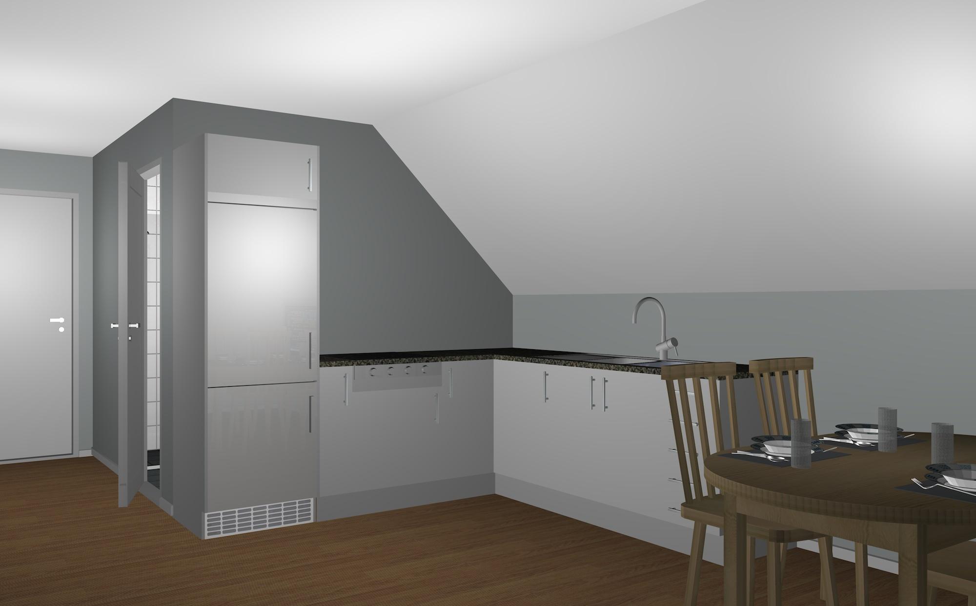Garage med övervåning / lägenhet 1,5 plan interiör