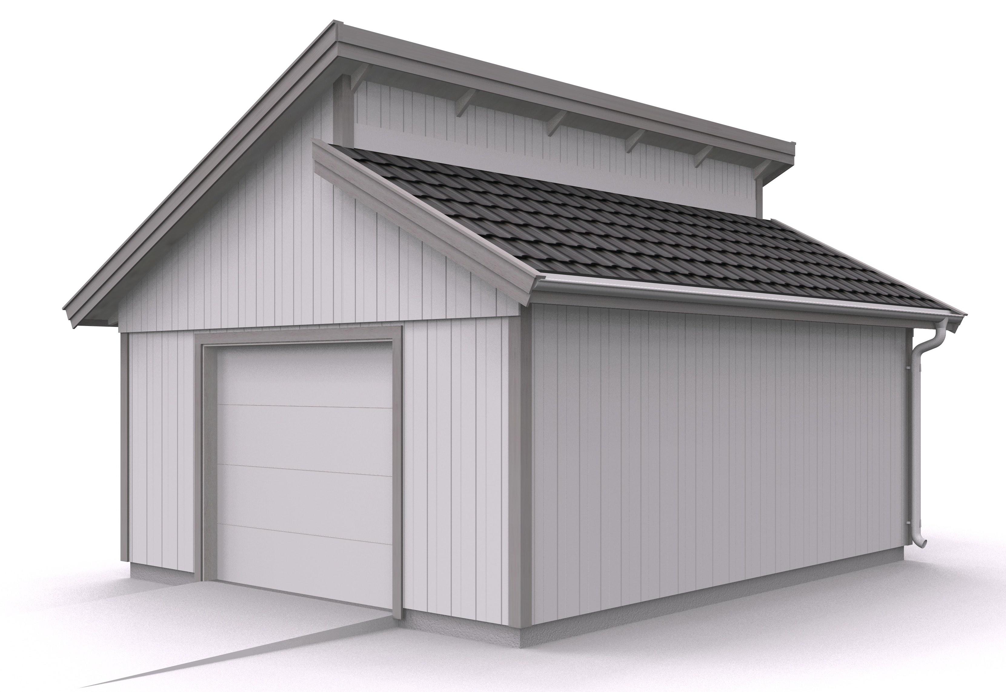 Våra garage - Enkelgarage med ryggställt pulpettak