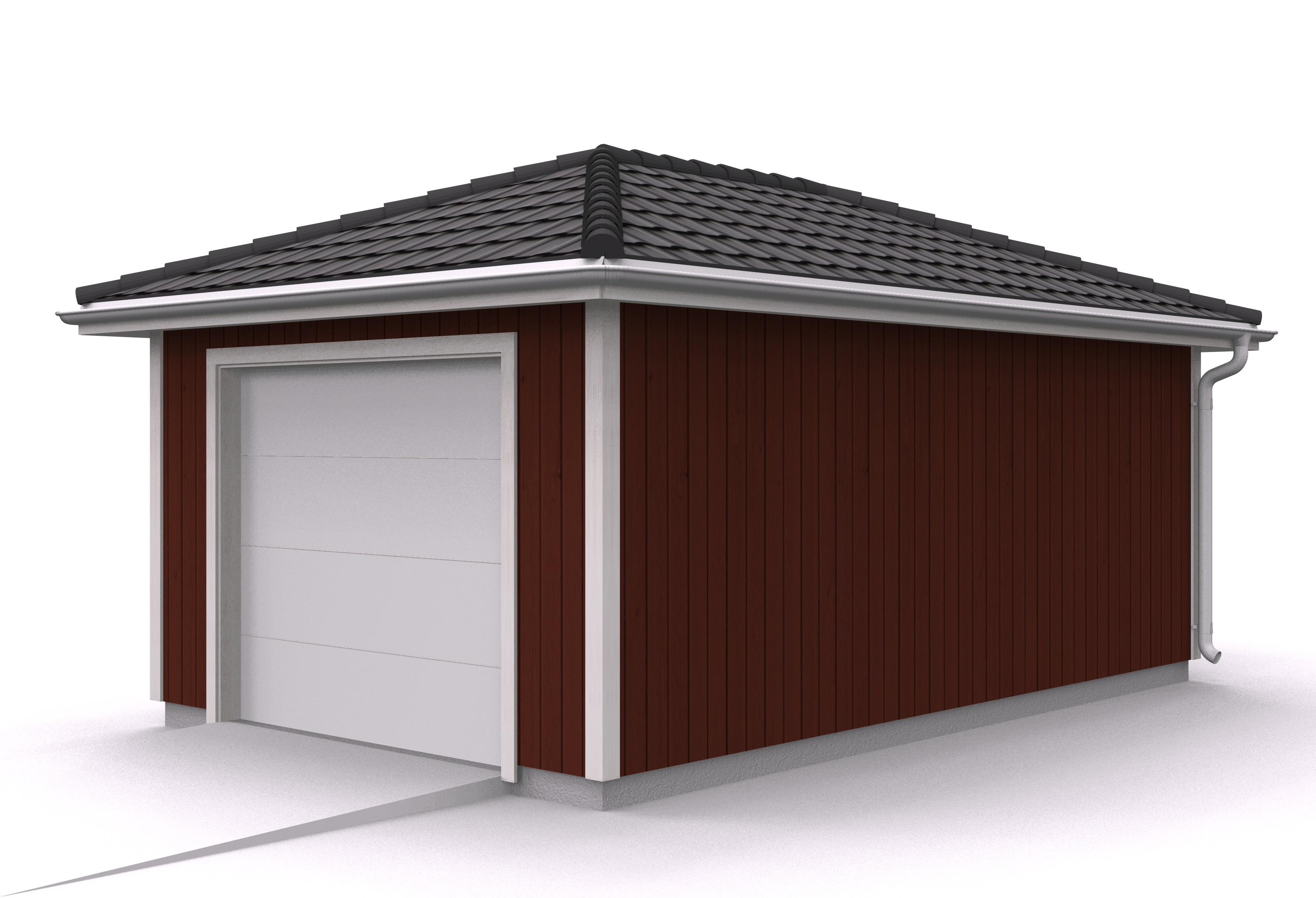 Våra garage - Enkelgarage med valmat tak
