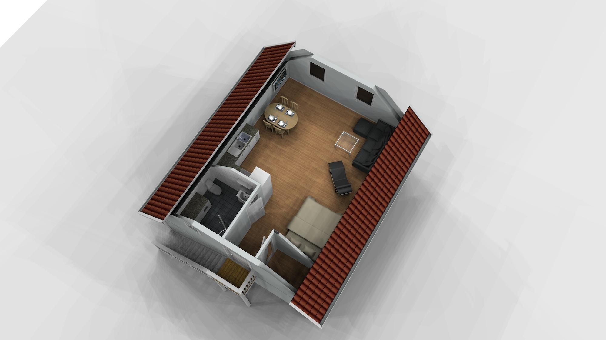 Garage med övervåning / lägenhet 1,5 plan Planskiss