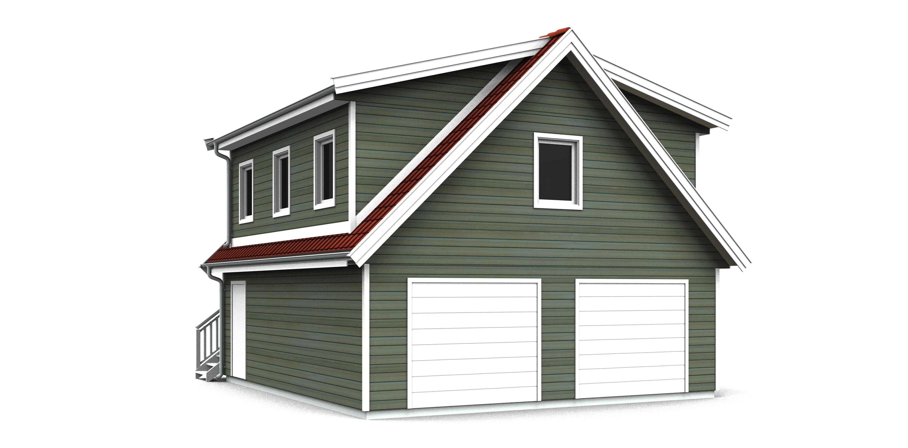 Garage med övervåning / lägenhet 2-plan, port på gavelsidan