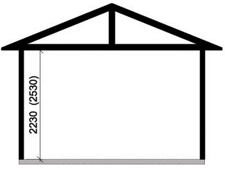 Våra garage - Enkelgarage med valmat tak, takutformning
